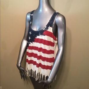 Others Follow Tops - Others Follow American flag fringe modal tank tops